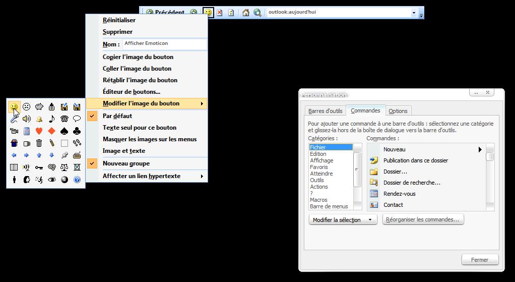 Cr�er un bouton dans Word/Outlook/Excel pour lancer Emoticon ...